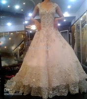 Wholesale - 2013 Deep Sexy V-Neck Organza Appliques SWAROVSKI Luxury Crystals Cathedral Train Wedding Dresses