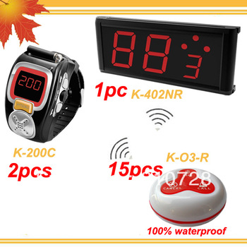 1 set Wireless transmission system w 1 LED Wall Display + 2 Wrist pagers for waiter + 15 table table buttons for guest