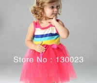 Baby Girls Rainbow Dress Girl TuTu Dresses Childreen Stripe with Bowknot  Dress 4Size*4Colors Available 4pcs/lot Free Shipping