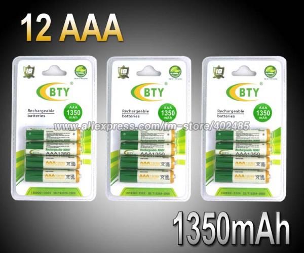 Аккумулятор 12PCS/LOT BTY AAA