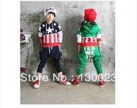 2013 kids flag suits children sports clothing set (hoodies+pants)2pcs suit boys stars suits Wholesale High Quality Free Shipping