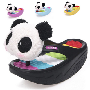 (35 36 37 38 39)Card 2013 summer panda head swing shoes flip slippers shoes slimming weight loss massage flip flops