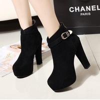 New Winter Warm Buckle Platform Thick High Heel Boots , Women Ankle Short Booties Black X474