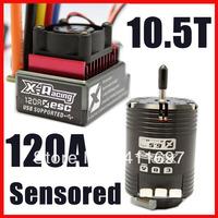 X-racing 120A sensored ESC 10.5T Sensored Brushless Motor RC Car Combo HSP 1:10