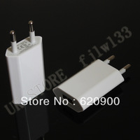wholesale 50pcs white  One Year Warranty Top Quality AC Power USB Adapter Wall Charger For iPhone 5 4 4S 3GS iPod EU Euro Plug
