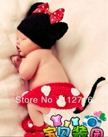 Hand Knitted Crochet Baby Crocheted Photography Prop Set Newborn Mickey Mouse