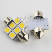 Free Shipping 2x  3200K 6-SMD 30mm 1.08W 118lm 5050 LED  Car Festoon Light Reading Lamp  Warm White