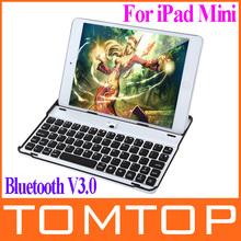 Ultra-thin Aluminum Wireless Bluetooth 3.0 Keyboard Stand Holder Case for Apple iPad Mini Free Shipping(China (Mainland))