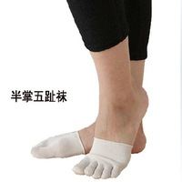 free shipping 4pairs/lot invisible five fingers half sole toe sock slippers foot pad cotton silk unisex Yoga sock man and woman
