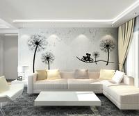 Large brief mural wallpaper tv wall sofa wallpaper romantic dandelion