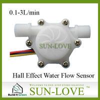 "SL-HZ41W Hall Effect Water Flow Sensor G1/4"" 0.1-3L/min Food Grade Nylon"
