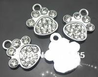 wholesale 100pcs rhinestone paw hang pendant charm  diy jewelry findings