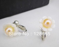 Freshwater pearl shell jewelry fashion Korean version of earless copper ear clip  Free shipping