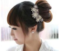 1PC New Fashion Purple/Pink Women's Girls Elegant Multiple Flower Pattern Rhinestone Hair Combs, Free Shipping