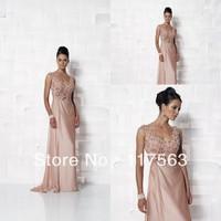 Free shipping elegant handmade flower embellishment semi formal mother of the bride dresses MQ010