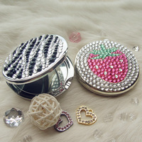 Rhinestone pasted rose makeup mirror folding portable double faced vanity mirror fashion