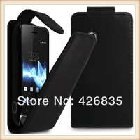 400pcs/lot Free Shipping waterproof back cover leather flip case for sony xperi tipo st21i