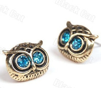 48pcs/LOT 24pairs Free Shipping wholesale Fashion Punk Fashion top Antique Night Owl Earring Animal Jewelry Ear Stud Nail