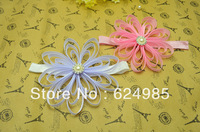 Anna $10 Boutique free shipping BABY pink WHITE grosgrain ribbon flower on FOE Shimmery Headbands 6pc/lot