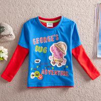 Summer New Kids Peppa pig Long Sleeve T shirt Children Cartoon T shirt for spring&autumn 100% cotton t shirt for boys and girls