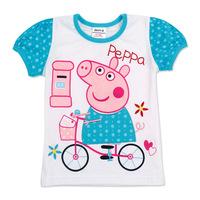 2013 summer Girls Cute Peepa pig T shirt Kids Printing Tee Children 100% cotton High quality T shirt Wholesale Free Shipping
