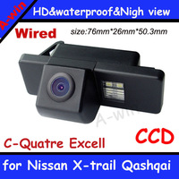 "High quality waterproof  Wired CCD 1/3""   night version Car Rear back Camera for Nissan X-trail Qashqai Excell Reverse Camera"