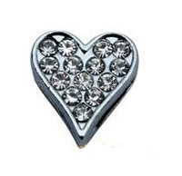 8mm Rhinestone Alloy Heart Charm Slide,fits 8mm DIY Wristband,Free Shipping Wholesale 50pcs/lot