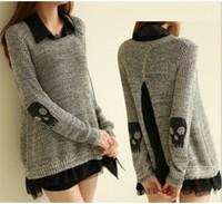 2014 Fashion Women's Skeleton Loose Knitting Sweater+Shirts Geometry Pullover Garment SW-101