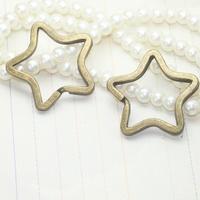 Key Chain- Star shaped split ring key ring, 33mm, antique bronze, wholesale