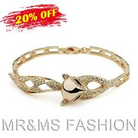 Free Shipping Wholesales 18K Gold Plated Czech Rhinestone Fox Charm Bracelet For Women Best Gift Fashion Crystal Jewelry 1021