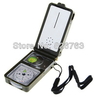 4PCS/LOT !!Mini 10-in-1 Outdoors Survival Kits +Whistle Compass +3X Magnifier+ LED Light +Thermometer Hygrometer +Ruler