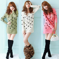 new arrival fall 2013 medium-long casual all-match crochet sweater Heart shape design sweater for women Hot Selling sw925