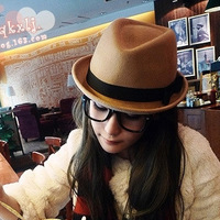 2014 Sale Real Solid Adult Hats Panama Chapeu Women Woolen Autumn And Winter Women's Fedoras Jazz Hat Fashion Roll-up Hem