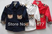 brand knight british style plaid long sleeve shirt kids clothes children clothing 0#130710
