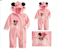 Free shipping spring\autumn 5pcs/lot 2013 baby girl pink Minnie rompers kid long sleeve cotton jumpsuits lovely romper suits