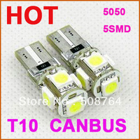 Free shipping 10pcs/lot T10 5 SMD Pure White CANBUS Error Free Interior Car W5W 5 LED Light Bulb Lamp