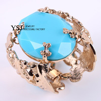 YSJ---Nice famous brand bange big stone alloy bracelet with gold plated.Order more than 20USD for free shipping