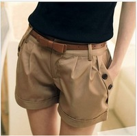 SZ Korea fashion wild solid color double-breasted curling casual shorts with belt
