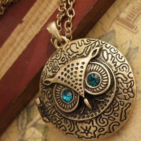 Min order is $10 (mix order) Fashion Antique Bronze Vintage Owl Locket Pendant Necklace Rhinestone Jewelry For Women #A2038