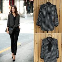 Fashion Sexy Women's 3/4 Sleeve Polka Dot Print Top Shirt Blouse Chiffon W4040