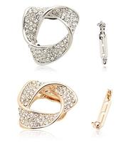 Wholesale 5pcs/lot Crystal Hoop Brooches Brand Rhinestone Circle Brooch Pins Fashion Jewelry For Women Man Wedding 2013 TBH0041