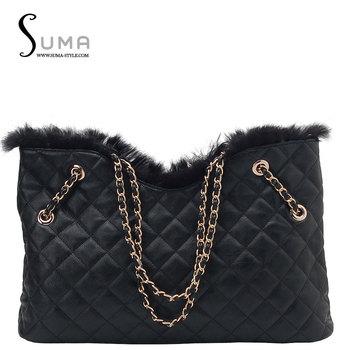 2013 bag plaid chain rabbit fur first layer of cowhide genuine leather handbag one shoulder women's