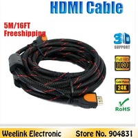 Freeshipping 1pc/lot (5m 16FT) 1.4v High speed HDMI Cable with ethernt cable 3m for LCD HDTV PS3 Blueray DVD support 1080P 3D