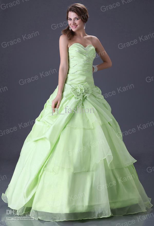 Wholesale stock garden light green ball gown wedding for Light green wedding dress