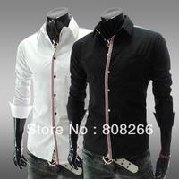 Hot ! 2013 summer new fashion casual shirt for men long sleeve slim shirt for man black/white