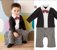 5pcs/lot Free shipping spring\autumn 2013 baby boy gentleman False two-piece rompers kids long sleeve Cotoon jumpsuits IN STOCK