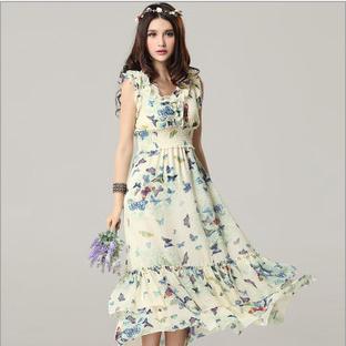 New 2014 women spring & summer chiffon long dress party girl print brand dress beach dresses free shipping