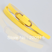 Cheap designer belts for women Candy-colored patent leather thin belt slipping simple belt women's Neon Belt W088
