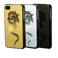 Glassical Style metal aluminium alloy plastic frame dragon drawing back case cover housing for iphone 4 4s