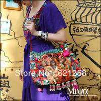 New Arrival! National trend canvas bag, handmade beading national bag,female bags bodhi leaves